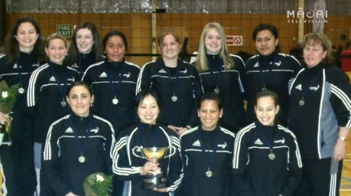 Teina Boyd (pictured bottom left) with NZ Volleyball Women's team