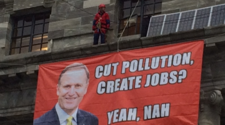 Greenpeace activists on Parliament House