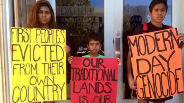 Aboriginal children showing support for #sosblakaustralia