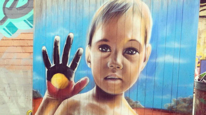Mural created in Melbourne by Jason Manukau and a fellow artist at the Powerhouse