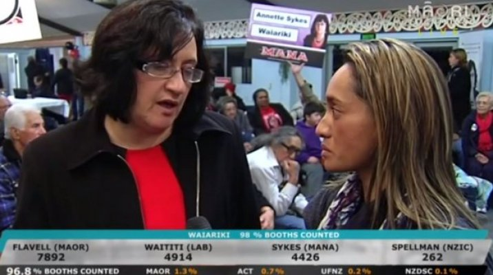 MANA Movement's Annette Sykes with reporter Mere McLean