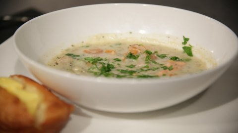 Bowl of seafood chowder