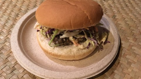 Pork and Kawakawa Burger presented on a plate