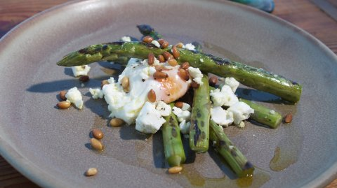 Asparagus, Feta & Poached Eggs (Eggs done 3 ways) on display