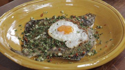 Kaipara Flounder with Gremolata & Fried Egg on display