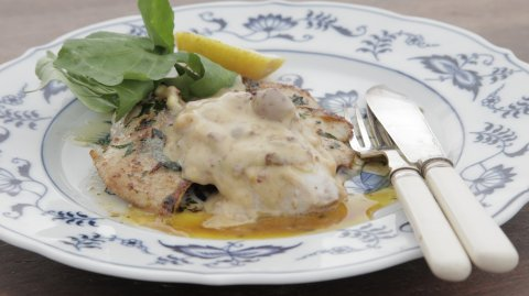 Panfried Trevally Cooked with Anchovy & Herb Butter, Served with Kalamata Aioli on display