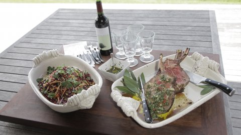 Ribeye on the Bone Steaks with Chimichurri & Akaroa Salad on display