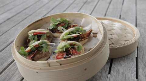 Steamed Pork Buns with Hoisin on display