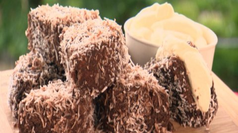 Lamingtons presented on a wooden board