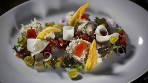 Spanner Crab Kinilaw on a plate