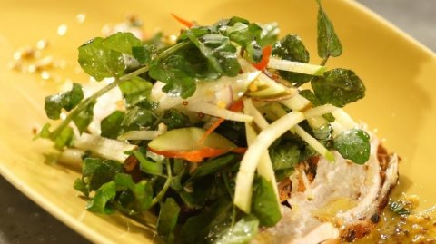 Chicken with Apple, Pear and Watercress Salad