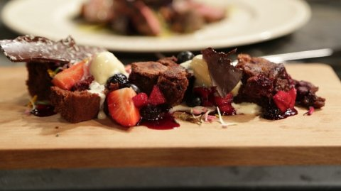 Raspberry and Macadamia Chocolate Brownie with Fruit Compote