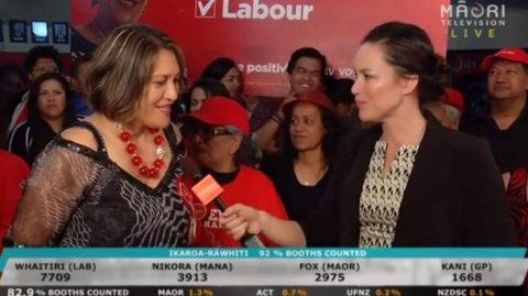 Labour candidate Meka Whaitiri with reporter Aroha Treacher