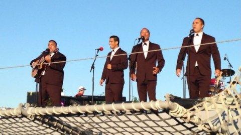 Modern Māori Quartet onboard HMNZS Otago, Auckland Anniversary - Photo / Ethan Smith