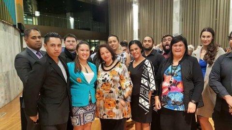 Māori MPs Peeni Henare, Marama Fox & Nanaia Mahuta with Manurewa youth at Parliament