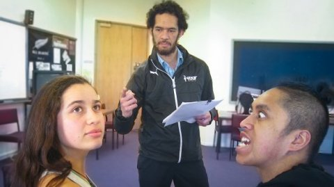 Pictured with principal actors, left, Kihere Aumua-Jahnke, who plays characters Waitaiki and Hine, with Tyson Tangaroa, who plays Poutini, a pounamu guardian