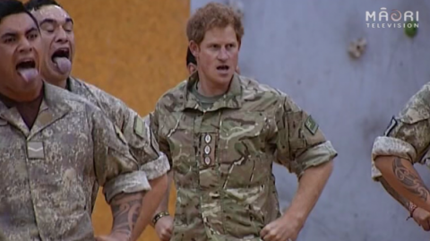 Prince Harry performs the haka with the NZ Defence Force