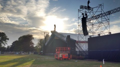 Finishing touches put in place around the Te Matatini 2015 stage - Photo / Stephen Guyan