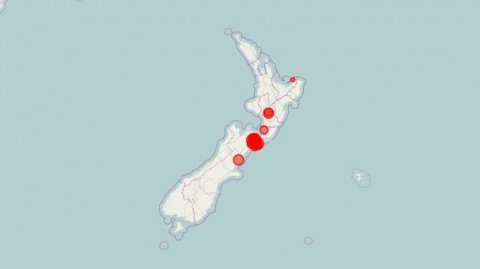 Quake map of activity in Central NZ regions