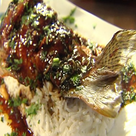 Finished meal Asian style trout on rice