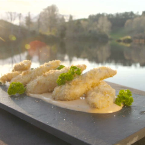 Cooked chicken tenderloins presented on a plate