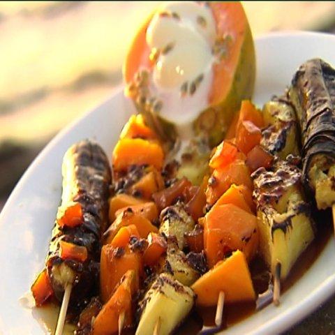 Plate of fruit kebabs
