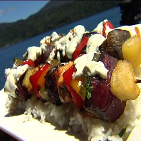 Trout Kebabs on bed of rice