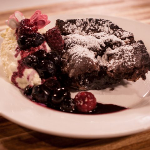 Chocolate brownie presented on a plate