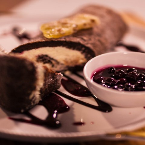 Chocolate log presented on a plate