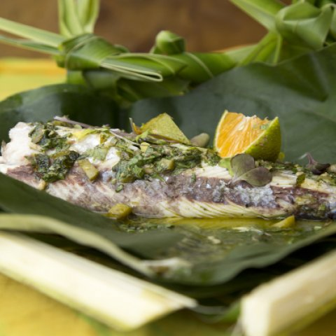 Chargrilled fish with salsa verde